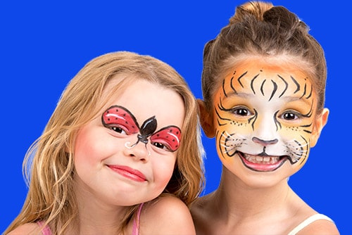 Face Painting butterfly and Tiger