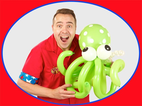 Silly Scott holding a Octopus Balloon
